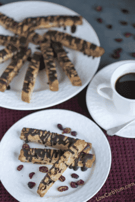 Cranberry Almond Biscotti Cookies on white plates