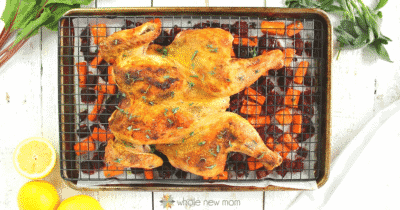 Spatchcock Chicken on a baking pan