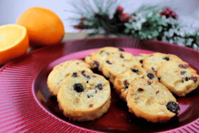 KETO CRANBERRY ORANGE SHORTBREAD COOKIES on a purple plate
