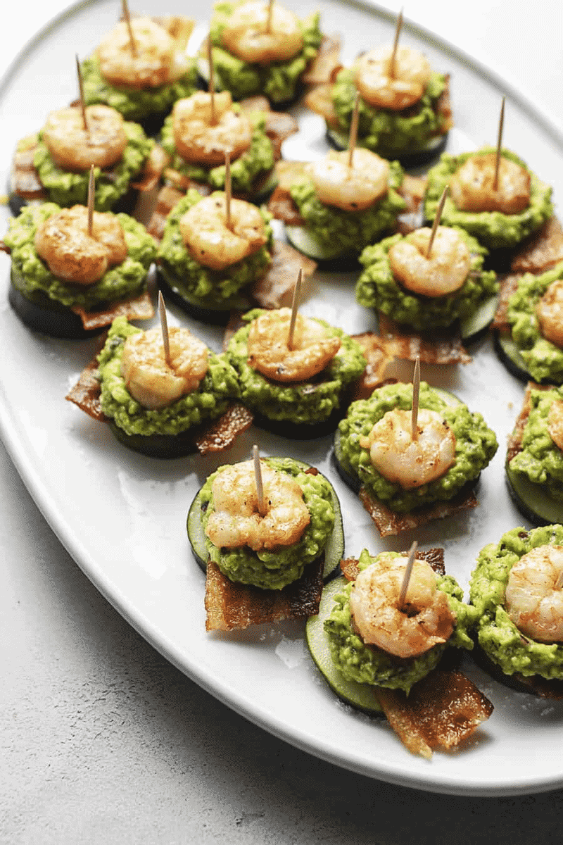 Shrimp Guacamole and Bacon Appetizers on a white plate