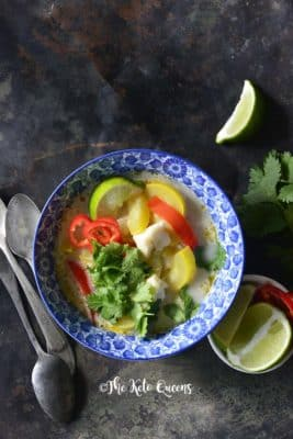 Thai Coconut Curry with Fish in a bowl