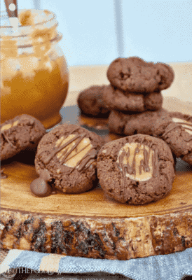 CHOCOLATE THUMBPRINT COOKIES WITH CARAMEL FILLING