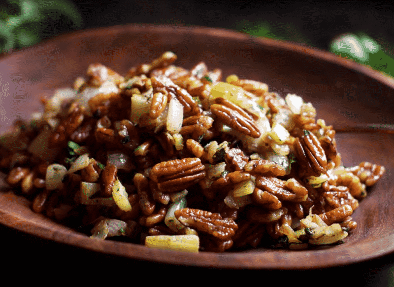 PECAN STUFFING IN A BROWN BOWL