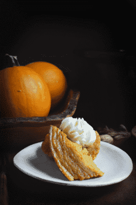 Slow Cooker Pumpkin Custard on a small white plate