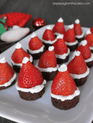 Santa Hat Brownies on a white serving dish