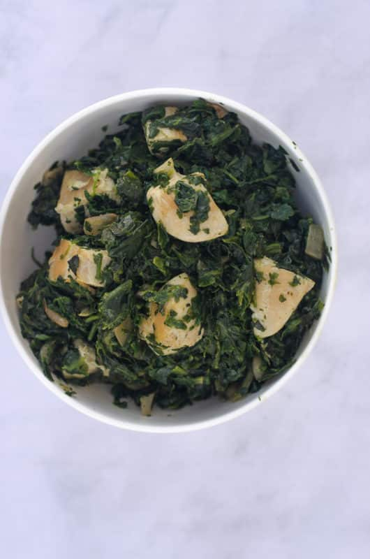 Indian Saag dish with chicken