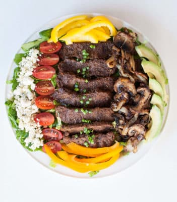 Blackened Steak Salad in a bowl with vegetables