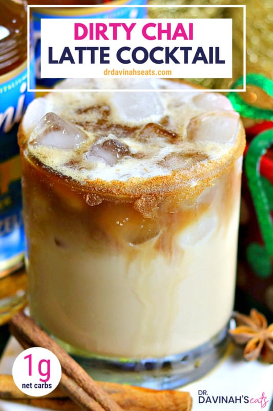 Pinterest image for Keto Dirty Chai Latte cocktail