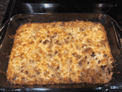Ground Beef or Turkey Cheese Cauliflower Casserole in a black casserole dish