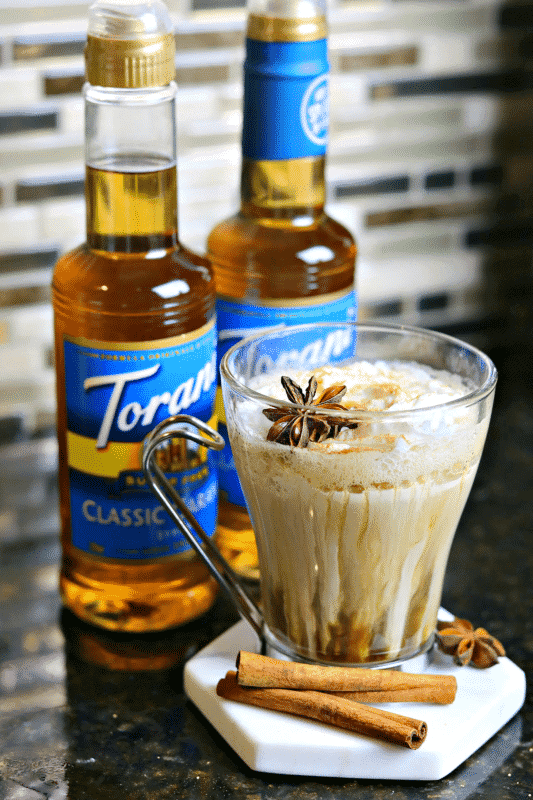 Keto Dirty Chai Latte with two Torani Sugar Free Syrups