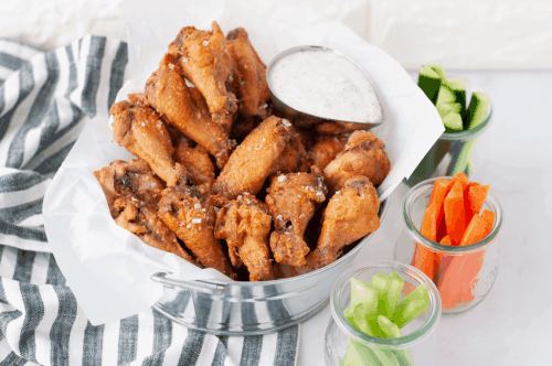 salt and vinegar wings in a metal basket