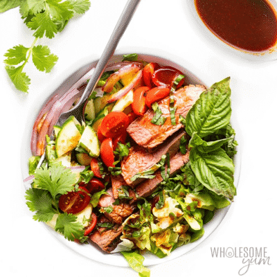 Thai Beef Salad in a white bowl