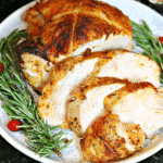 Sliced turkey breast on a plate