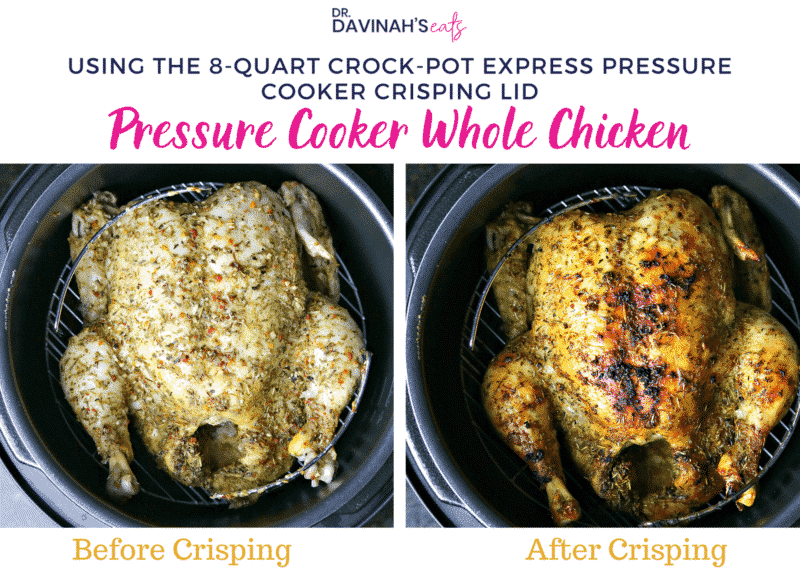Infographic showing the difference between pressure cooked chicken & air crisped whole chicken
