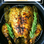 Pinterest image for pressure cooker whole chicken