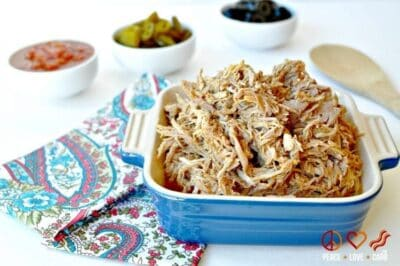 Shredded Taco Pork in a blue bowl.