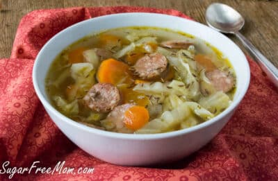 Large white bowl of Keto Cabbage Soup with Sausage.