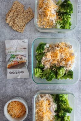 Slow Cooker Creamy Italian Chicken with broccoli in single-portion containers