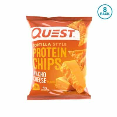 "1 bag of Quest Nacho Cheese Low-Carb Tortilla Chips (""8 pack\"" tag in a blue circle)"