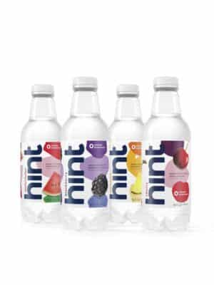 Four bottles of Hint Fruit Infused Water