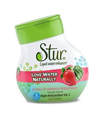 A container of Stur Natural Water Enhancer