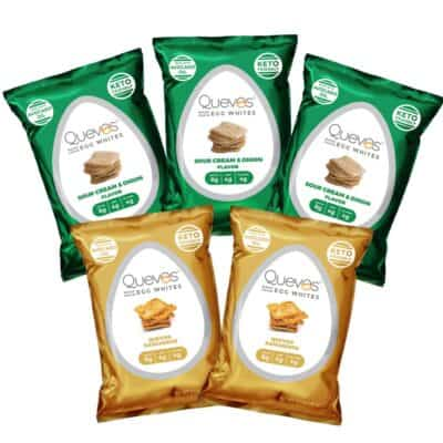 5 bags of Quevos low carb crackers (made from egg whites)