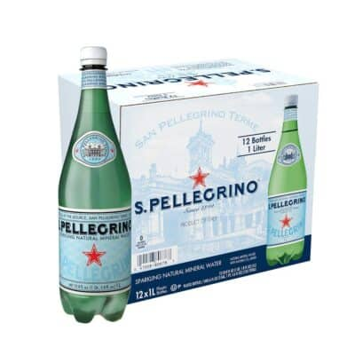 A package of S.Pellegrino Sparkling Water with one bottle ready to drink