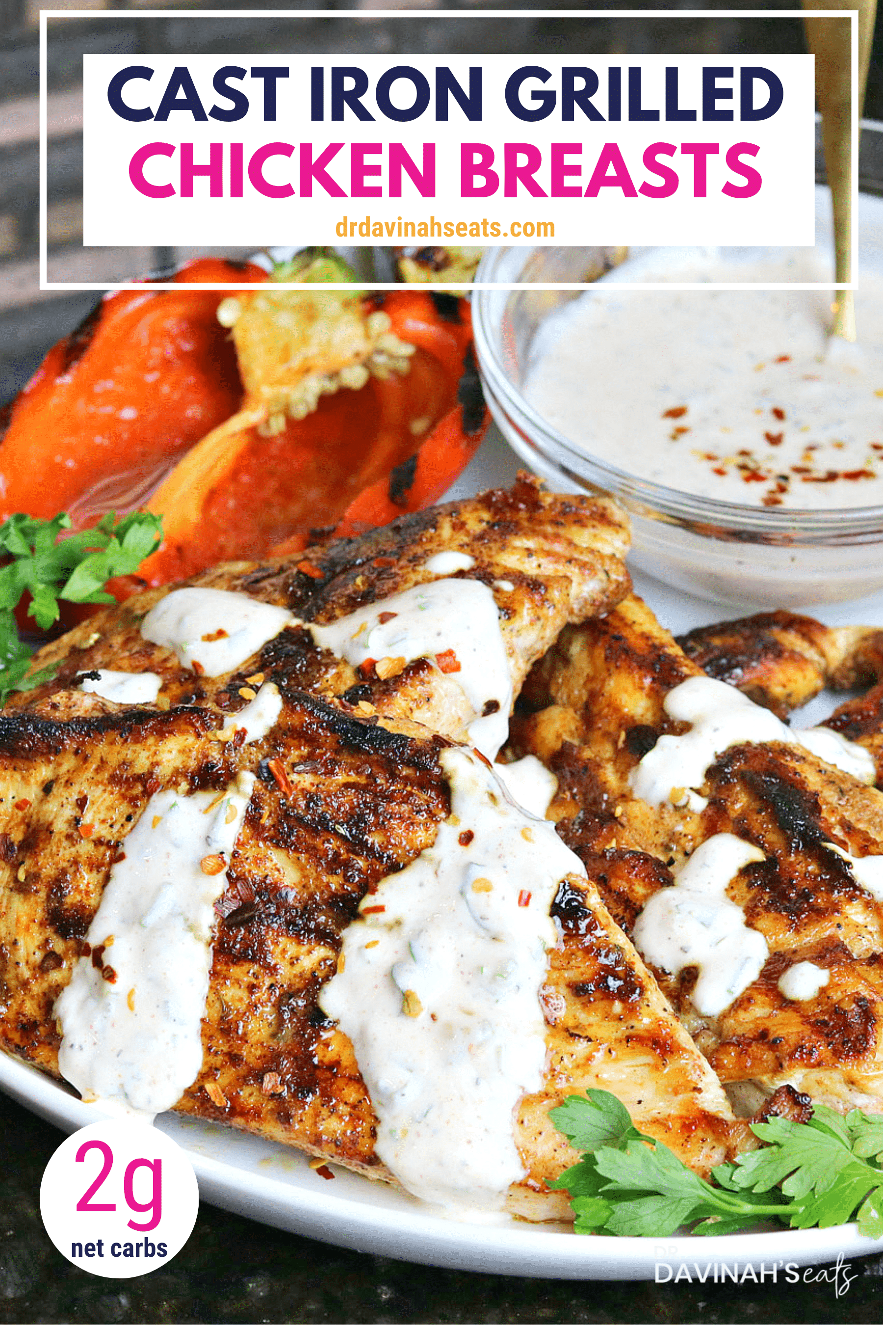 Pinterest image for Cast Iron Grilled Chicken Breasts