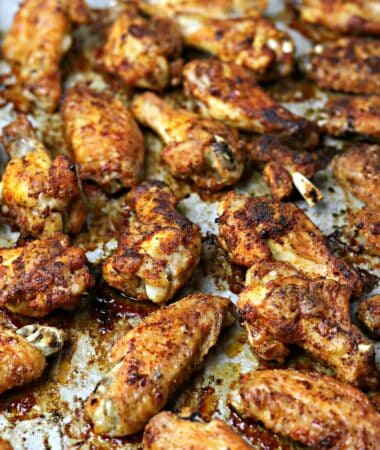 baked chicken wings on a sheet pan