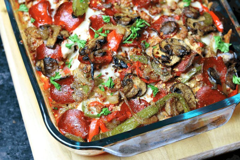 Keto Pizza Casserole recipe in a baking dish