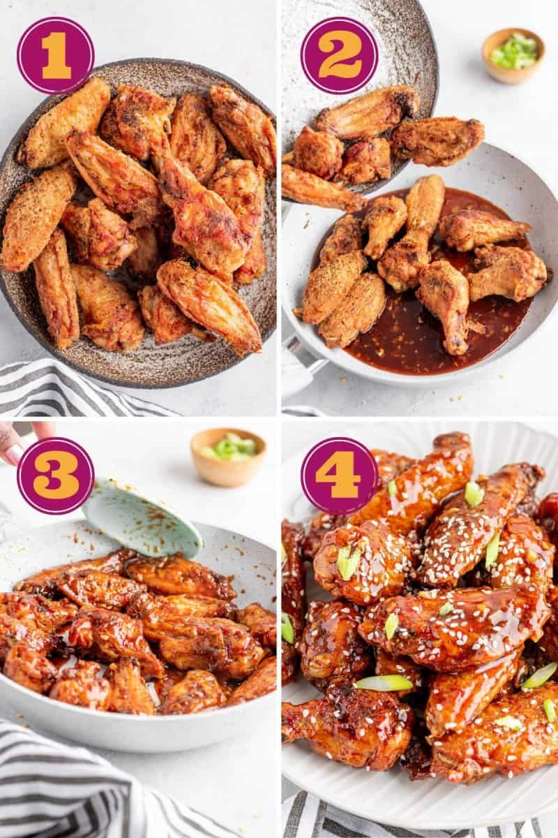 collage of how to make keto sweet chili wings in four steps