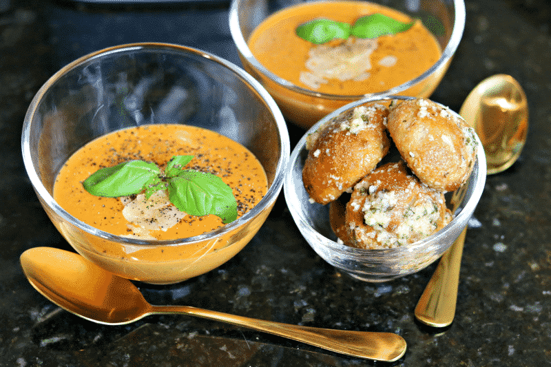 Creamy Keto Tomato Soup in glass bowls