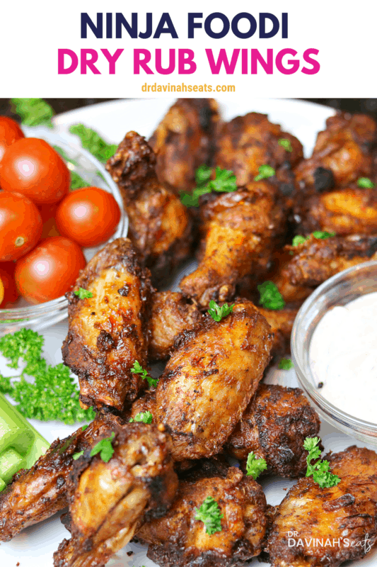 Pinterest image for spicy dry rub wings