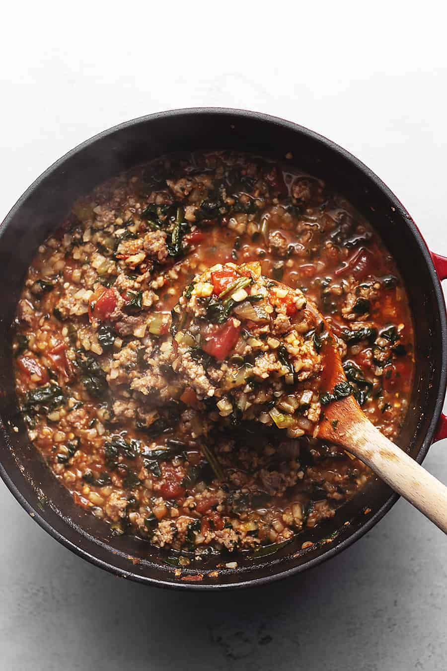 Italian Vegetable Stew with Sausage in a pot