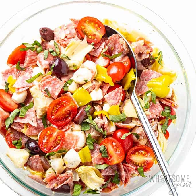 Chopped Italian Keto Antipasto Salad in a serving dish