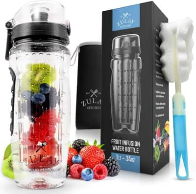 a product photo of a Zulay Water bottle (with juice infuser), box, bottle brush, and a pile of delicious looking berries