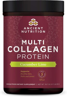 one package of cucumber lime flavored Ancient Nutrition brand Collagen Protein