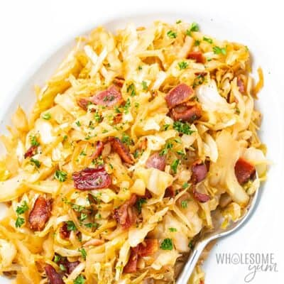 A delicious-looking serving of Southern Fried Cabbage with Bacon