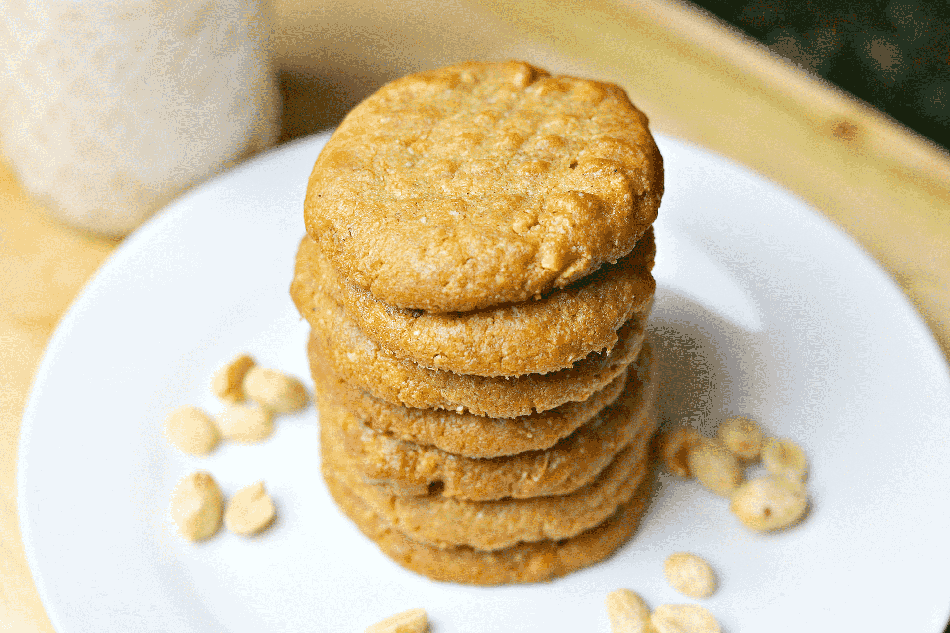 a stack of keto peanut butter cookies
