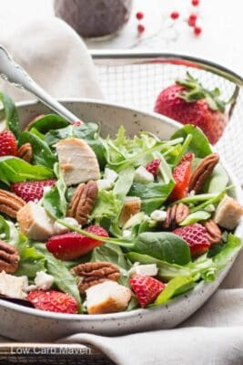 Summer Spinach Strawberry Pecan Salad in a bowl