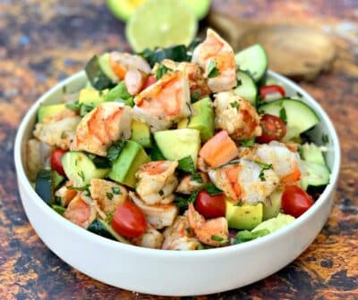 Shrimp and Avocado Ceviche Salad in a bowl