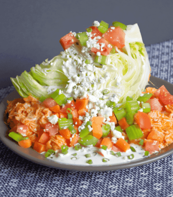Buffalo Chicken Wedge Salad on a plate