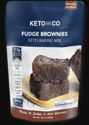 One package of Keto and Co Fudge Brownies Keto Baking Mix