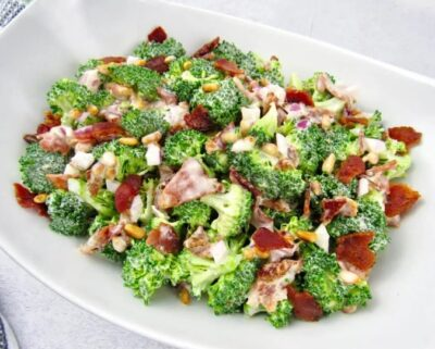 Easy Keto Broccoli Salad With Bacon ready to serve