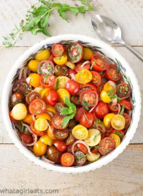 Tomato Balsamic Mint Salad in a bowl