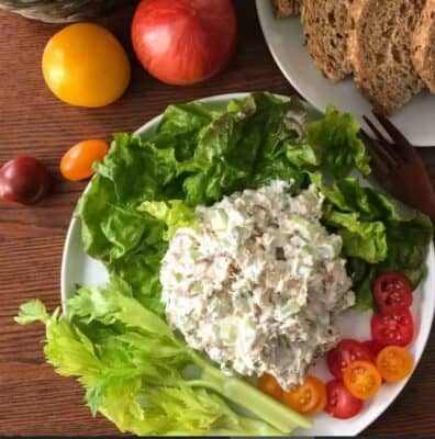 Simple Creamy Chicken Salad ready to eat