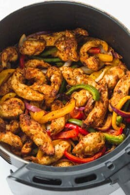 chicken fajita vegetables in an air fryer pan