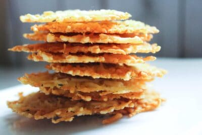 a stack of keto cheese crackers