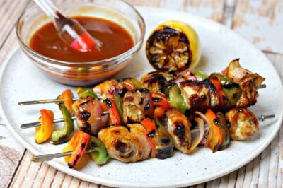 sugar-free bbq sauce recipe on a plate with chicken kabobs