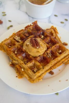 Pumpkin Pecan Chaffle on a white serving dish